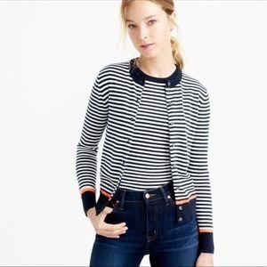 J Crew Cotton Jackie Cardigan Sweater/Neon Tipping